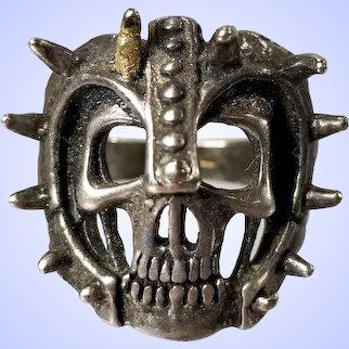 Vintage 1980s Silver Biker Ring with Skull or Grim Reaper
