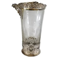 Sterling Silver German Etched Glass Cocktail Margarita Pitcher Robert Anstead