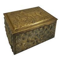 Fine Bronze Wiener Werkstatte Cigarette Cigar Box Hunting Scene