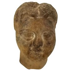 Antique Carved Stone Greek or Roman Head Fragment