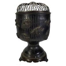 Antique Japanese or Korean Bronze Censer Incense Burner with Silver Lid