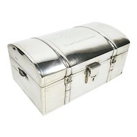 Antique English HUSKIN & HEATH Sterling Silver Strapped Jewelry Box