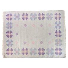 Scandinavian mid-century rug, signed. 7.38 ft x 5.64 ft (225cm x 172cm). ON HOLD