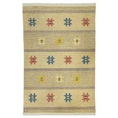 Scandinavian mid-century rug by Evy Svensson. 200 X 134 cm (78.74 X 52.76 in).