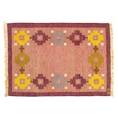 ON HOLD Scandinavian mid-century rug, signed. 192 cm X 138 cm (75.59 x 14.96 in)
