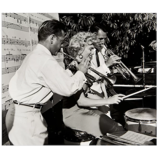 Photograph of Marilyn Monroe Playing Drums - Original Photo from Original Negative (1952)