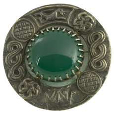 Robert Allison Clan Badge Sterling Green Onyx