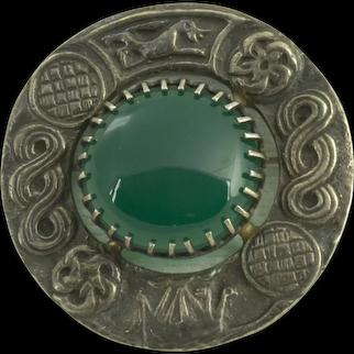 Robert Allison Clan Badge Sterling Green Onyx