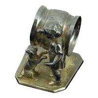 Aurora Silverplate Figural Dog and boy Napkin Ring