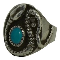 Vintage Old Pawn Silver Turquoise Snake Ring