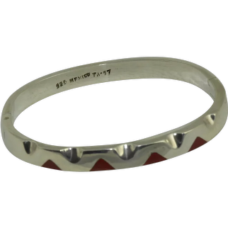 Mexican Sterling Inlaid Red Coral Bracelet