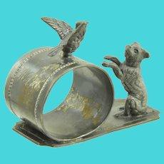 Aurora Silverplate Mfg Co Dog & Bird Napkin Ring