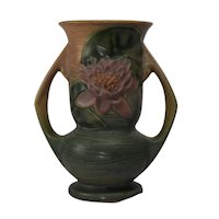 Roseville Pottery Water Lily 74-7 Handled Vase