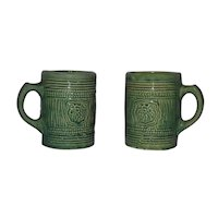 Pair Vintage 1926 Salt Glaze Green Grape McCoy Mugs