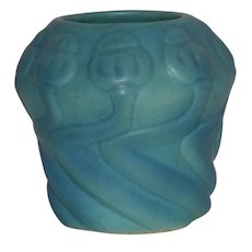 1930s Vintage Van Briggle Pottery Poppy Blue Ming Design #21