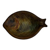 Marcel Guillot Pottery Mid Century Fish Shaped Sauce Dish