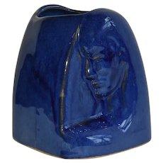 Vintage Dryden Cobalt Profile Felmale Form Signed Vase