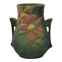 """1944 Vintage Roseville Clematis Vase 106-7"""" Green"""