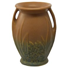 Vintage Nelson McCoy Leaves Floral Asymetrical Handled Vase
