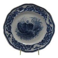 Vintage Cauldon Blue & White Turkey Bird Plate Dinner