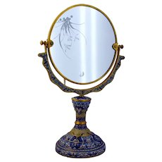 Vintage Cloisonne Chinese Export Enamel Vanity Mirror Exquisite