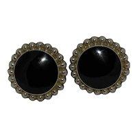 Calderon Atachi Sterling Earrings Mexico TC-84 Black Onyx