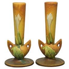 Pair Roseville Thorn Apple 813-7 Bud Vases