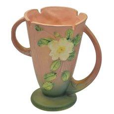 Roseville White Rose 982-7 Assymetrical Handled Pink Vase