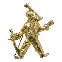 1940's Sterling Gold Wash Pirate Brooch ARRRRGH