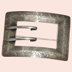 Nouveau Sterling Etched Rectangular Ladies Sash and Belt Buckle