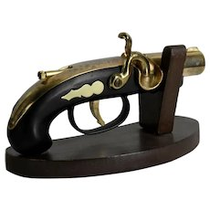 Vintage 1960's Pistol Flintlock Gun Lighter with a wood stand