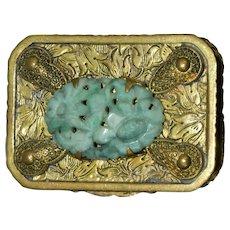 Vintage Ornate Brass Box w/Carved Jade Stone WL