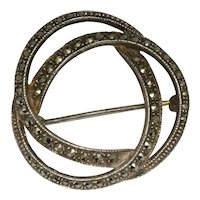 Sterling Marcasite Triple Circle Interlaced Brooch