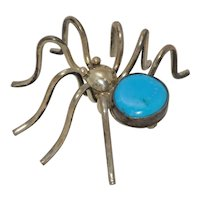 Vintage Silver Turquoise Spider Brooch Pin