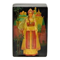 Russian Papier Mache Lacquer Box Female