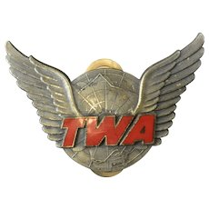1950s TWA Agent Ground Crew Hat Badge w/Red Enamel