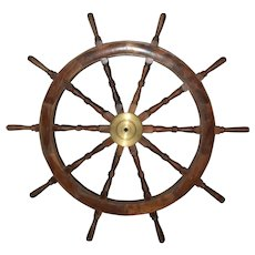 6' Nautical Wood Ship's Wheel Brass Hub