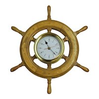 "20"" Ships Wheel Brass Clock"