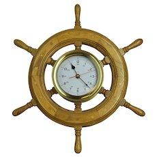"""20"""" Ships Wheel Brass Clock"""
