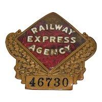 Railway Express Agency 46730 Brass & Enamel Screw Back