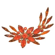 Judy Lee Chinese Red Floral Spray Prong Set Brooch Signed