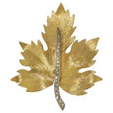Parklane Signed Leaf Shaped Clear Rhinestone Brooch