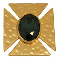 Hattie Carnegie Iron Cross Style Brooch Emerald Color Stone