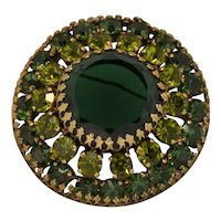 Vintage Weiss Emerald & Peridot Two Tone Green Round Brooch Pin Signed