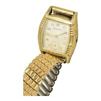Helzberg 10k Rolled Gold Mens Watch Peaked Crystal