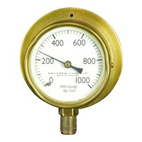 Eagle & Wright Brass Pressure Gauge 0-1000 lb/in2