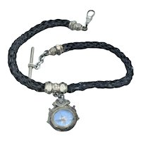 Victorian Braided Hair Mourning Watch Fob With Compass