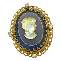 German Glass Cameo Filagree In Blue