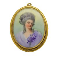 Hand Painted Cameo Brooch Pendant