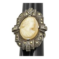 Sterling Marcasite Shell Cameo Ring
